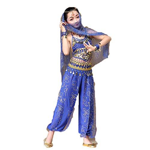 JTIH® Indian Dance exotische Kostüme, Kinderbekleidung, Kostüme, Tanzkostüme, Mädchenröcke (einschließlich Blumenkleidung, Schleier, Halskette, Hosen, Oberteile, Gürtel, Armband, Ohrringe)