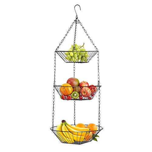 Oramics 3-teiliger verchromter Hängekorb Obstkorb, Küchenampel als Hängeregal für Obst, Gemüse und vieles mehr. Hängeregal, Obstregal (Silber)