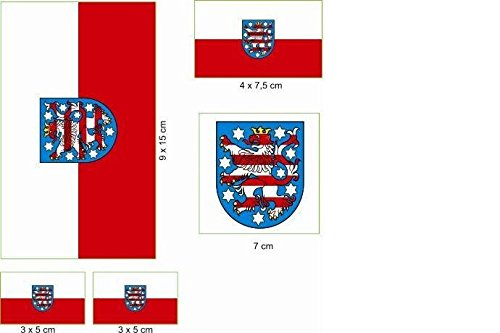 U24 Aufkleberbogen Thüringen Aufkleber Set Flagge Fahne
