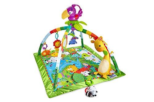 dschungel baby Fisher-Price DFP08 Rainforest Erlebnisdecke, Krabbeldecke mit Musik und Lichtern weichem Spielbogen Babyerstausstattung, ab 0 Monaten
