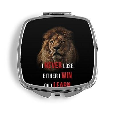 I Never Lose, Either I Win Or I Learn. Löwe Metall Taschenspiegel Kosmetik Beauty Spiegel Klappbar Bedruckt Spruch Motivation Fitness Zitat Lion