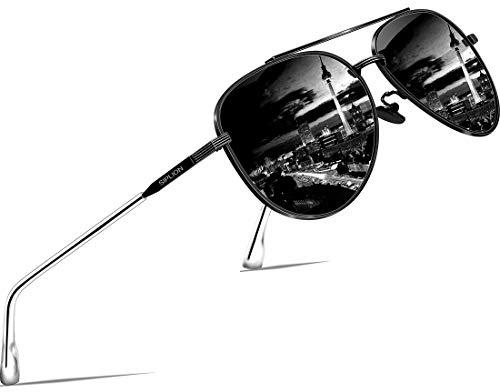 SIPLION Unisex Polarisiert Sonnenbrille Herren Damen Pilotenbrille Fahrerbrille Verspiegelt UV400 (ALL BLACK 7077)