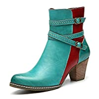 gracosy Womens Ankle Boots Winter Autumn Leather Strappy Buckle Booties Shoes Chunky Heel Waterproof Short Boots Low Block Heel Anti Slip Casual Comfort Walking Boot Side Zipper Wedding Party Boots