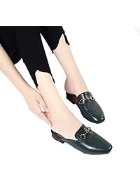 DFB Zapatillas De Cuero De Espesor Con La Moda Ropa Exterior Señoras Casual Zapatillas Para Las Mujeres,DarkGreen-38