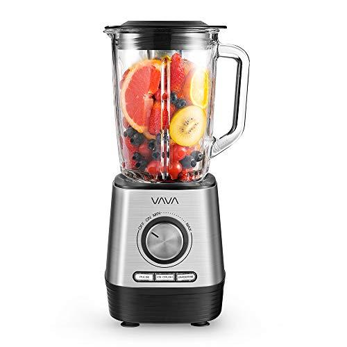 Standmixer VAVA Smoothiemaker 1000W, 1,5 L Glasbehälter, Blender Mixer 6-Fach Edelstahlmesser BPA-frei, Power Mixer Ice Crusher Edelstahl Schwarz/Silber