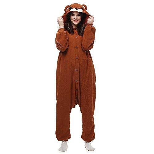 (Fandecie Tier Kostüm Tierkostüm Tier Schlafanzug Pyjamas Jumpsuit Kigurumi Damen Herren Erwachsene Cosplay Tier Fasching Karneval Halloween (Braunbär, XL:Höhe 180-189cm))