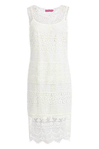 blanc Lola Crochet Lace Midi Dress Blanc