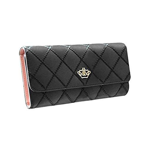 Damen Krone Geldbörse Süß PU Leder Elegant Portemonnaie (Schwarz) - Elegante Kronen
