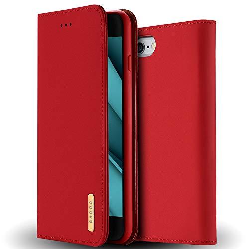 Radoo iPhone 6S Plus Lederhülle,iPhone 6 Plus Hülle, Luxus Premium Echtes Leder Klapphülle Slim Lederhülle TPU Innenraum Case Schlanke Ledertasche Handyhülle für Apple iPhone 6S / 6 Plus 5.5' (Rot)