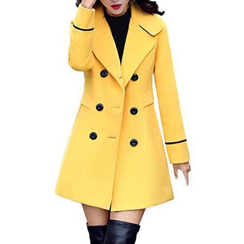 NPRADLA 2018 Jacke Frauen Lang Langarm Elegant Einfarbig Wolle Zweireiher Mantel Arbeits Büro Mode(3XL/42,Gelb)