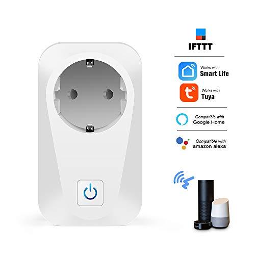 Leepesx S02 Smart Wi-Fi-Steckdose Telefon Fernbedienung Timer-Funktion Countdown Sprachsteuerung Kompatibel mit Amazon Alexa und Google Sicherheitskreis Stromverbrauch Zählung EU-Stecker 160g 2g Pc