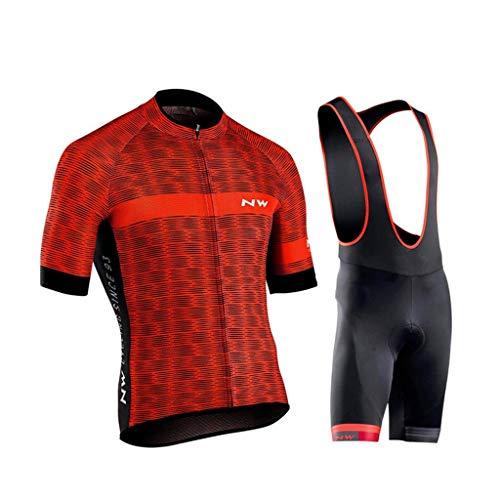 LXIANGP Herren Radtrikot Sommer Kurzarm Set Hemd Trägerhose Fahrradbekleidung Sportbekleidung Anzug 9D Gel Pad Atmungsaktiv, Komfortabel, Schnell Trocknend (Color : D, Size : XL) -