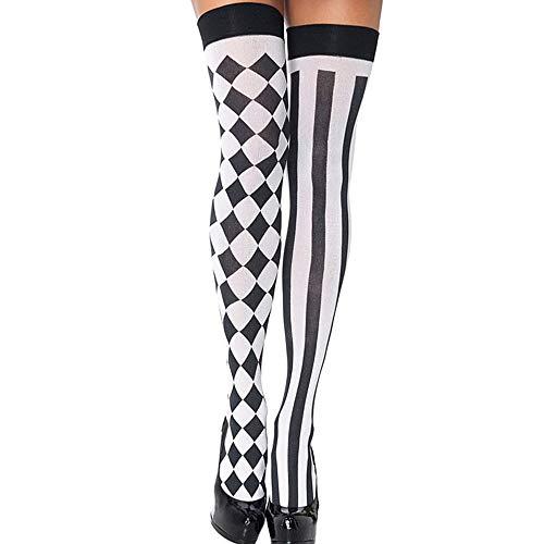 Frauen schwarz und weiß Nähen Gitter Streifen Oberschenkel sexy Strümpfe, Extra Lange über Knie Strümpfe Strümpfe für Halloween oder Alltag