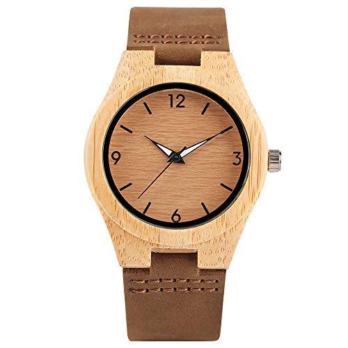Reloj de Pulsera Creativo de Madera, Correa de Cuero Genuino para Mujer, Carcasa de bambú, Reloj de Pulsera de Madera y bambú