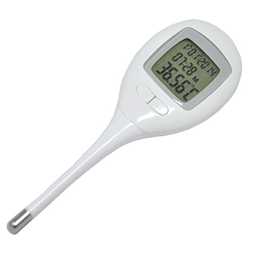 BabyMad-Basal-Thermometer-Backlit-Display-60-Memories-Recall-Time-Date-Clock-Fever-Alarm-Accuracy-005-CF-Body-Temperature-Ovulation-Test-Thermometer-Switch-Centigrade-or-Fahrenheit-Flexible-Tip-BBT-Fe