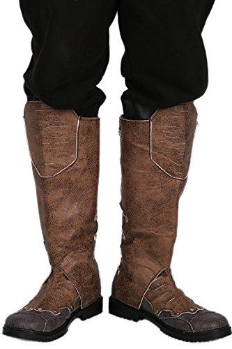 Herren Knie Hoch Stiefel Boots Brown PU Schuhe Cosplay Kostüm Karneval Verrücktes Kleid Für Erwachsene 44 (Braun Leder Stiefel Kleid)