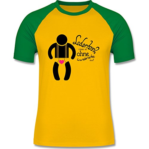 Oktoberfest Herren - Lederhosn? I schau aa ohne wunderschee aus! - zweifarbiges Baseballshirt für Männer Gelb/Grün