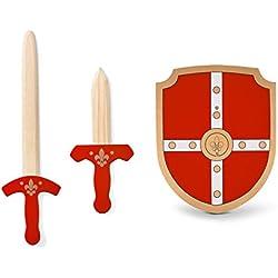 BuitenSpeel Juego de caballero - espada, daga y escudo