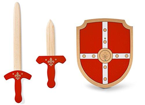 Preisvergleich Produktbild Ritter Spielset in rot -Schwert, Schild, und Dolch aus Holz