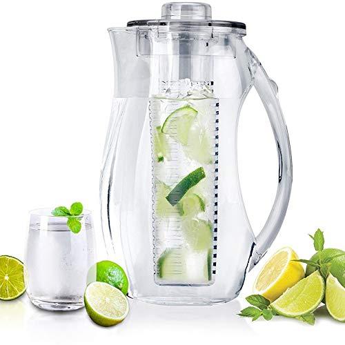 JASNO Fruit Infusion Water Pitcher Kristall Acryl Krug 2,5 L Mit Eiskern Und Fruit Tube Für Aromatisierte Und Infundierte Wasser Gefror Getränke Gas Pump Dispenser
