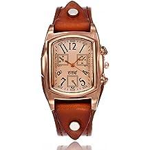 Reloj de mujer Casual Cuarzo Banda de cuero Nuevo Correa Cosa análoga Reloj de pulsera Relojes LMMVP (Tamaño libre, A)
