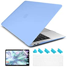 Dongke Newest MacBook Air 13 inch Case 2020 2019 2018 Release A2179 A1932, Frosted Matte See Through Hard Case Cover for MacBook Air 13.3 inch with Retina Display Touch ID - Senerity Blue