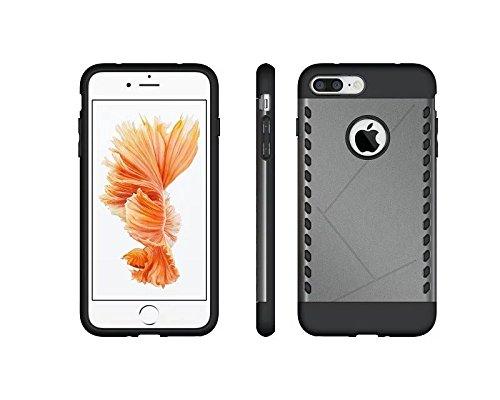 iPhone 7 Plus Coque,Lantier Art Style Design [Hard PC+silicone souple][Anti-Skid][antichoc][Thin Fit] Armure Heavy Duty double couche Housse de protection pour Apple iPhone 7 Plus Argent Grey