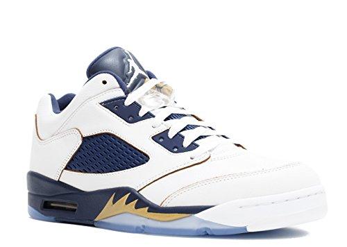 sneakers for cheap b7722 dbd8d Nike Herren Air Jordan 5 Retro Low Basketballschuhe, Weiß Blau Vergoldet ( Weiß