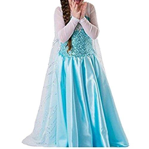 Kosplay Mädchen Prinzessin Kostüm Eiskönigin Kleid für Mädchen Schmetterling Karneval Verkleidung Party Cosplay Faschingskostüm Festkleid Weinachten Halloween Fest ()