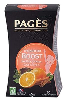 PAGÈS Thé Noir Boost Bio 36 g - Lot de 4