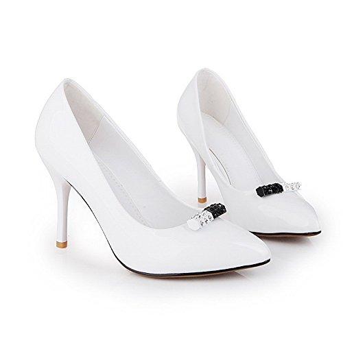 AgooLar Damen Rein Lackleder Stiletto Spitz Zehe Ziehen Auf Pumps Schuhe Weiß