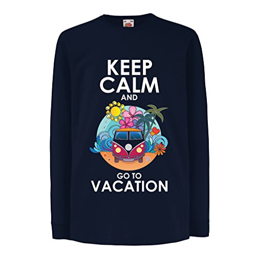 N4442D La camiseta de los niños con mangas largas Keep Calm and Go to Vacation (12-13 years Azul