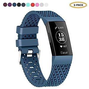 FatcatBand für Fitbit Charge 3 Armband, Atmungsaktives Silikon mit Luftlöchern Weiches Silikon Verstellbares Ersatz Zubehör Uhrenarmband Sportarmband Uhrenband für Fitbit Charge 3