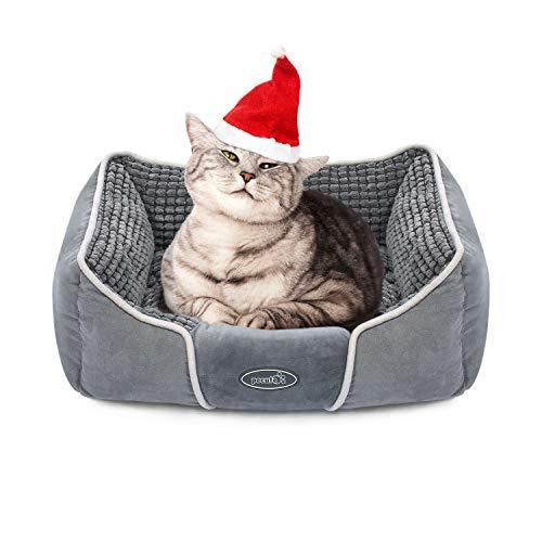 Pecute Cama para Mascotas Básica Cama de Suave Gamuza para Perros y Gatos de Color Gris S(53 * 43cm)