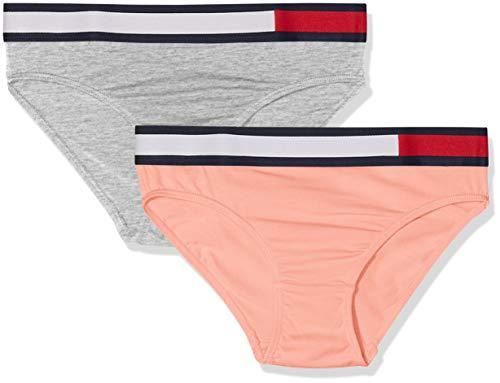 Tommy Hilfiger Mädchen 2P Bikini Bikinislip, Mehrfarbig (Rose Tan/Grey Heather 016), 164 (Herstellergröße: 12-14)