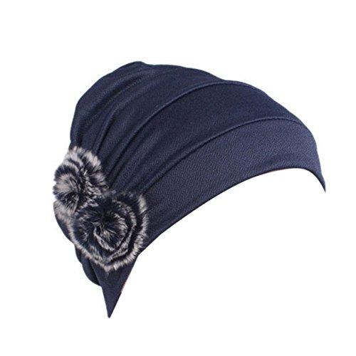 1da4e5fac80 YUAN Women Beanie Scarf Turban Head Wrap Cap Classic Turban Cancer Chemo Hat  (Navy) - Buy Online in Oman.