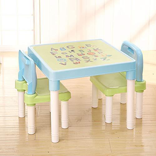 ZH Tische Und StüHle Aus Kunststoff FüR Kinder, Moderner Quadratischer Kleiner Tisch Und 2 StüHle,Alphabetische Buchstaben Tischplatte, Leicht, FüR 1-2-3-4-5 JäHrige -