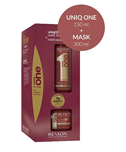 Revlon,Uniq One,maschera,300ml + spray,150ml. Cura capillare 2 in 1 per capelli secchi e danneggiati,gamma Revlon Professional