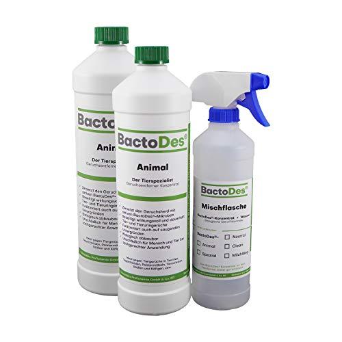 BactoDes Animal Tier Geruchsentferner - 2 x 1 Liter inkl. Mischflasche - Geruchskiller bei Katzenurin, Hundeurin und Kleintiere