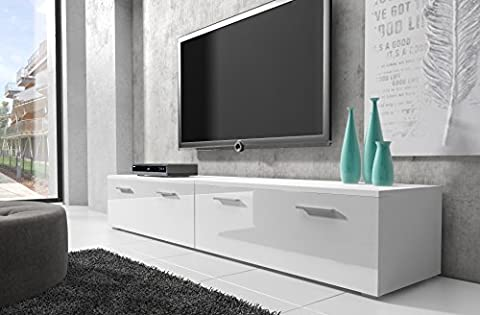 Meuble TV Armoire support Boston Corps blanc/Avant Blanc brillant 200 cm