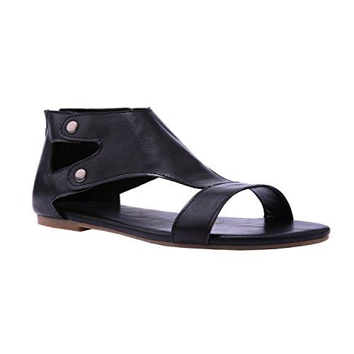 Minetom sandali estivi donna elegante ragazze casuale estate romani sandali infradito da donna scarpe con taccco alto basse aperte peep toe sandali nero eu 39