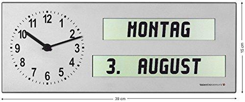 Valentin Elektronik GmbH Seniorenuhr/Analog-Digitaluhr AMC 26 mit ausgeschriebenem Wochentag und Tageszeit (Wochentag Uhr)