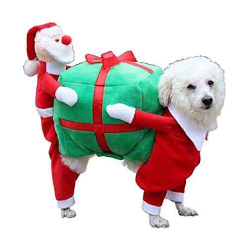 Imagen de ropa para perros, internet perro mascota gato regalo de santa disfraz ropa de lujo para cachorros chaqueta de abrigo de navidad dressup multicolor, m