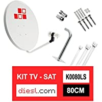 Diesl.com - 80 CM Satellite Dish Pack + LNB + Wall Mount + Metal Screws + 10x Cable Tie + 2x F Connectors