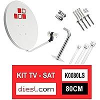 Diesl.com - Kit Parabólica 80cm + LNB + Soporte + Tacos a pared + Conectores + 10x Bridas