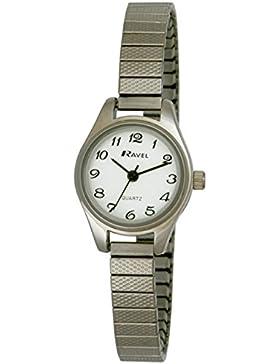 Ravel R0207.02.2 Damen-Armbanduhr, Quarzwerk mit Analoganzeige, Armband aus Edelstahl, Silberfarben
