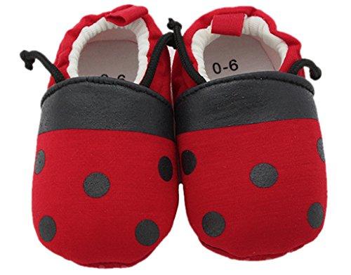 BONAMART Baby Mädchen Jungen Schuhe Pantoffeln BabySchuhe Für 0-24 Monaten Käfer-rot