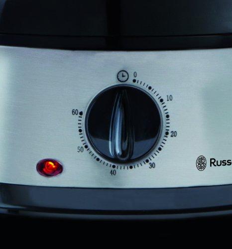 Russell Hobbs 19270-56 Dampfgarer Cook@Home, 3 Dampfgarbehälter, 9.0l, 60-Minuten Timer, Reisschale, 800 Watt, Edelstahl/schwarz
