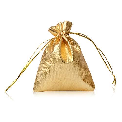 YFZYT 100 Pezzi Sacchetto dei Monili Sacchetti della borsa dei sacchetti del regalo del sacchetto del cordone Satchel per i regali di favore del partito di festival di nozze di Natale - 15x20 cm/5.91x7.87 pollici, Oro