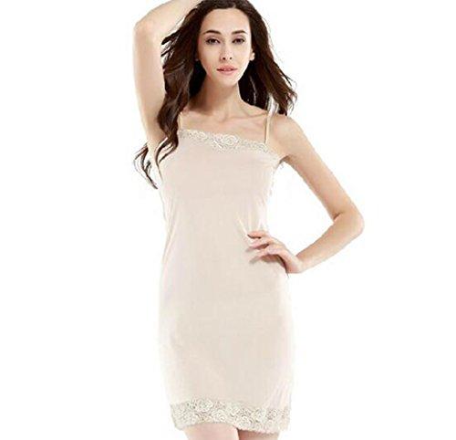 Newest Ladies Slips Women Full Slip Underskirt Bottoming Lace Primer Petticoat 100% Silk Underdress Slip (M) Size
